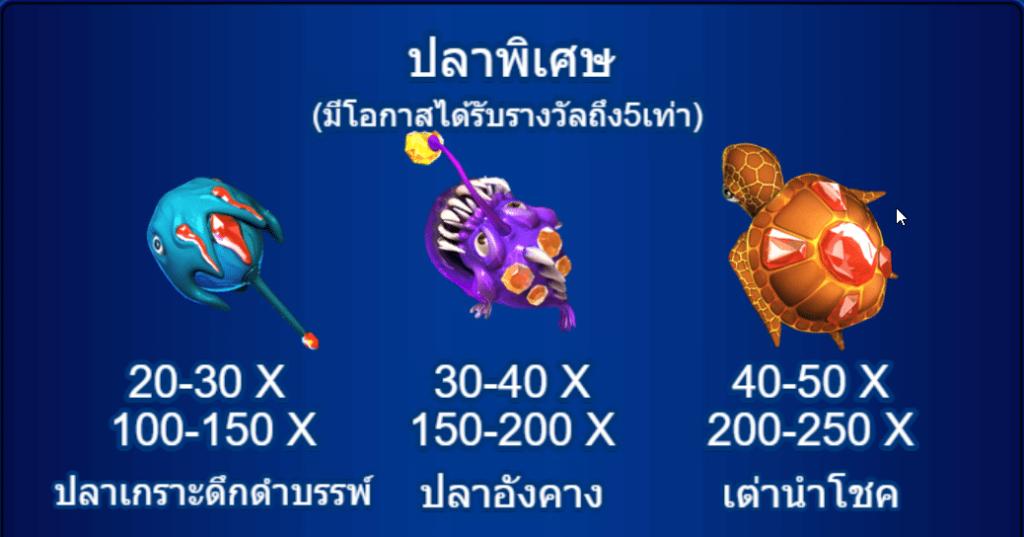 ปลาพิเศษจะมีโอกาสได้รับรางวัลเพิ่มขึ้นถึง 5 เท่าจากปกติ โดยสามารถดูได้จากภาพด้านล่าง